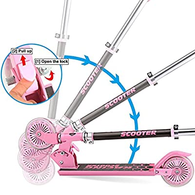 Utheing Mini Kick Scooter for Kids 2 Wheel Folding Scooter, Aluminum Alloy Kick Scooter Adjustable Height Smooth & Fast Ride (Pink): Toys & Games