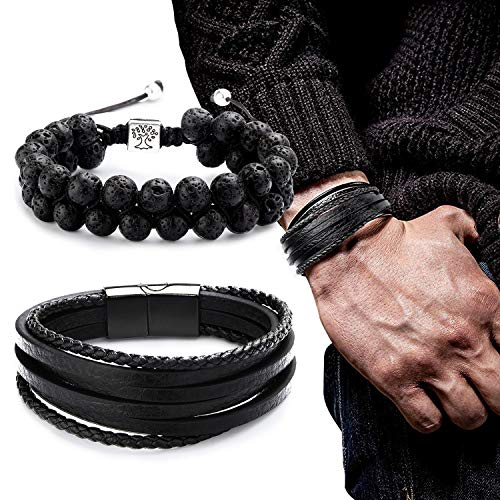 Adramata Wrap Leather Bracelets for Men Essential Oil Lava Bracelet Set
