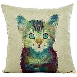 Vintage Cotton Pillow Case,FUNIC Cute Animal Printed Sofa Waist Throw Cushion Cover Home Car Decor (Black #D)