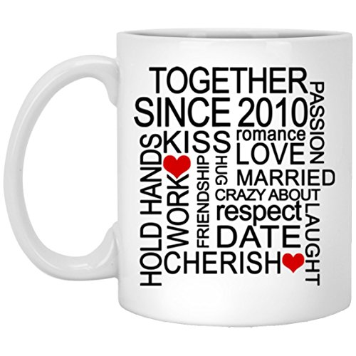- Together Since 2010 Happy Wedding Aniversary White Ceramic Coffee Mug 11oz Funny Gift for Husband, Wife, for Parents who married since 2010