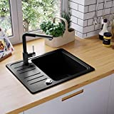 Festnight Granite Kitchen Sink Single Bowl Rectangular Inset with Strainer for Overmount, 57.5x46x28 cm