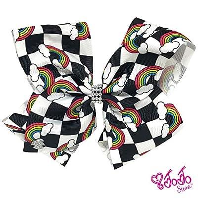 Jojo Siwa Girl's Bow Set 2 Bows and 3 Pack of Bracelets - Checker box with Rainbows, Tye Dye with Stars: Clothing