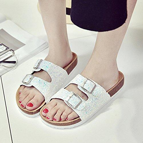 de Plage Para Chaussures Mules Blanc Chaussures Femme Sandales Sandales Paillettes U8t0qw