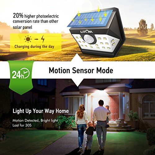 LITOM Classic Solar Lights Outdoor, 20 LED Wireless Motion Sensor Lights(White Light), 270°Wide Angle, IP65 Waterproof, Easy-to-install Security Lights for Front Door, Yard, Garage, Deck, Porch-4 Pack by Litom (Image #3)