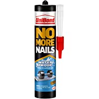UniBond No More Nails Waterproof, Heavy-Duty Mounting Adhesive, Strong Glue for Mirrors, Wood, Ceramic, Metal etc., Instant Grab Adhesive Indoor & Outdoor, 1 x 450g Cartridge