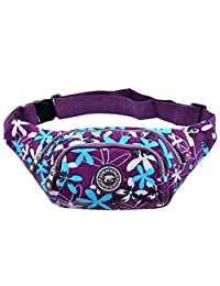 Women Fashionable Floral Printed Outdoor Hiking Waist Pack Fanny Packs-for woman and girl