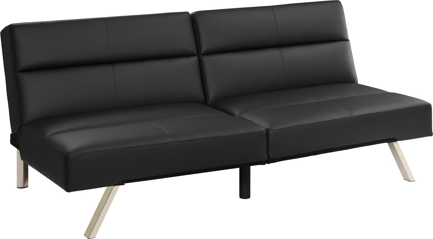 Amazon: DHP Studio Convertible Faux Leather Futon Couch, Black: Kitchen  & Dining