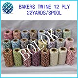 FINCOS Cotton Baker Twine 12ply (22yard/Spool)(3pcs/lot) 37 Kinds Multi-Colored Cotton Twine, Rope Cotton Cord 2mm