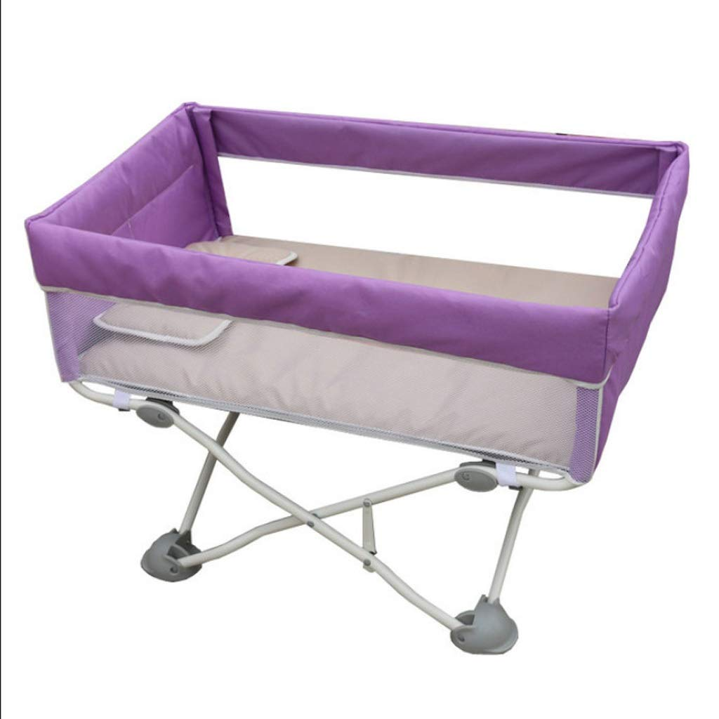 Comfortable Crib Fold Baby Travel Crib Light Infant Cot Can Take On Plane Baby Bed Mini Bedside Bed with Mosquito Net 4.3kg Durable (Color : Purple) by TIAN