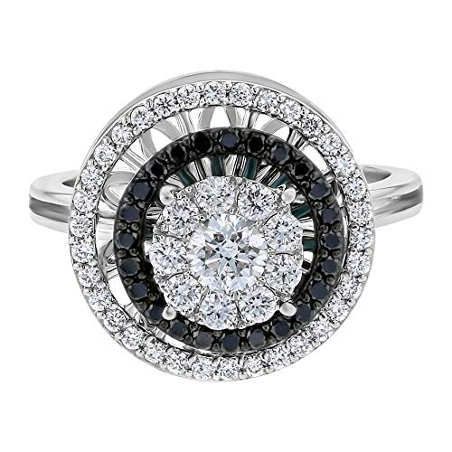 Olivia Paris 14k White Gold Halo Black and White Diamond Cocktail Spinner Ring (0.85 cttw, H-I, SI2-I1) (7)