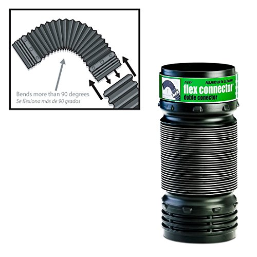 Flexible Elbow Corrugated Landscaping Pipe Connector, Connects to 3-Inch and 4-Inch Pipe