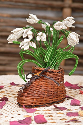 Handmade Artificial Beaded Flower Composition in Straw Boot Shaped Cachepot