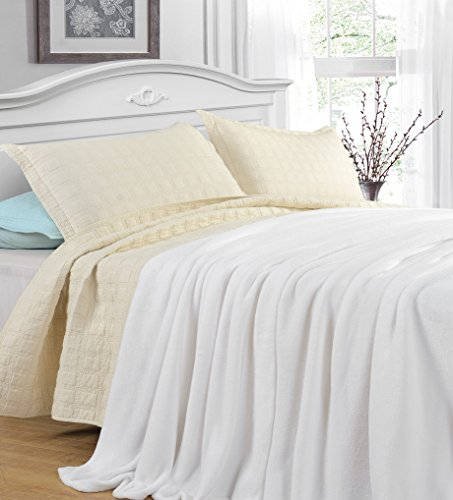 Grand Linen King Size White Cozy-Flannel Thermal Blanket - Snuggle in These Super Warm Bed Blanket. Easy Care and Extra Soft Fabric