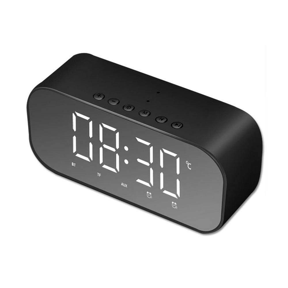 LayOPO Double Alarm Colck with 3W Bluetooth Speaker, Support FM Radio and 3.5MM AUX Line-in TF Card Play, Mini Portable Wireless Speakers with LED Clock