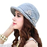 CACUSS Women's Cute Cotton Foldable Floral Bucket Hat Rolled Brim with Bowknot(Blue)