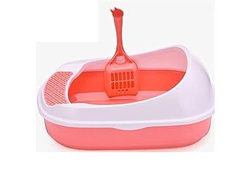 para Cat Aseo Casa Arenero para Gatos PráCtico WC para Gatos Semicerrado para Evitar Salpicar La Bandeja De Arena para Gatos MS-014, Pink: Amazon.es: ...
