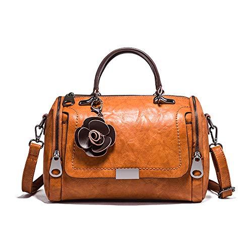Mn&Sue Boston Style Handbags for Women Small Top Handle Satchel Crossbody Mini Barrel Purse (Brown)