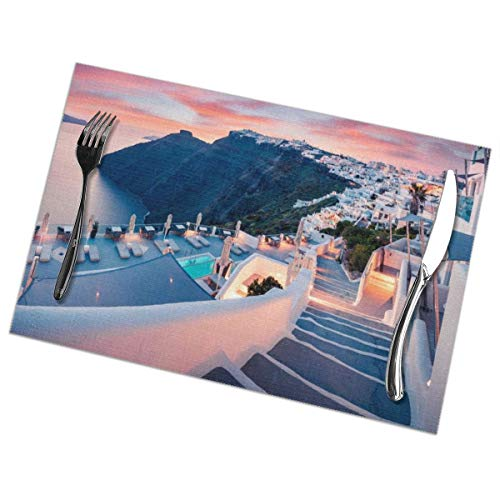 TakeiGagold The Town Of Oia, Santorini, Greece Set Of 6 For Dining Table Washable Placemat Non-Slip Heat Resistant Kitchen Table Mats Easy To Clean - 18
