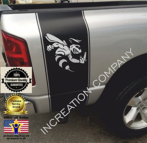 Super Bee Stripes - 2002-2018 Dodge Ram 1500 2500 Black Rear Side Bed Mirrored Decals, Super Bee Middle Finger Hemi 5.7 Liter 4x4 Logo off road Stripes Vinyl Stickers, Auto Graphics SRT hellcat, Mopar, Rebel