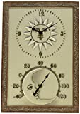 Chaney Instrument 10-Inch by 14-1/2-Inch Sun & Moon Clock/Thermometer Combo