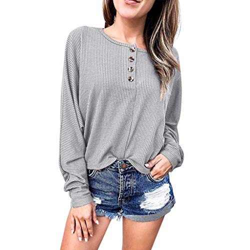 St.Dona_Women Top Plus Size Long Sleeve Shirts Fall O Neck Button Down Ribbed Knit Casual Blouse Tshirts ()