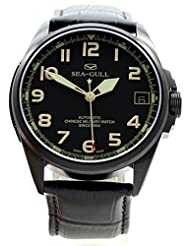 Limited Edition Seagull No.1 Green Sapphire Crystal Special Men's Automatic Military Watch Black PVD Luminous by Seagull