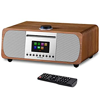 Image of Boomboxes LEMEGA M5+ All-In-One HIFI Music System with CD Player, Internet Radio, FM Radio, Spotify, Bluetooth, WIFI, 2.1 Channel Stereo Speaker, Headphone-out, USB MP3, AUX-in, App & Remote Control (Walnut)