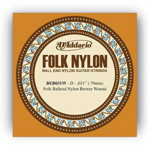 D'Addario BEB031W Folk Nylon Guitar Single String, Bronze Wound, Ball End, .031 Daddario Nylon Folk Strings