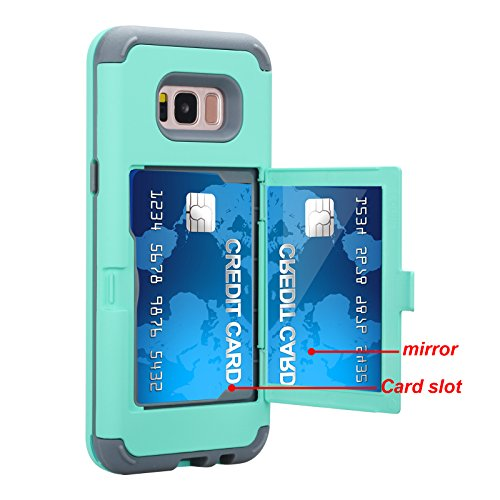 Galaxy S8 Plus Case, SUMOON [Card Holder] [Hidden Mirror] Luxury Three Layer Card Holder, ID Credit Card Slot Hidden Pocket Protective Wallet case Cover for Samsung Galaxy S8 Plus (Mint) ()