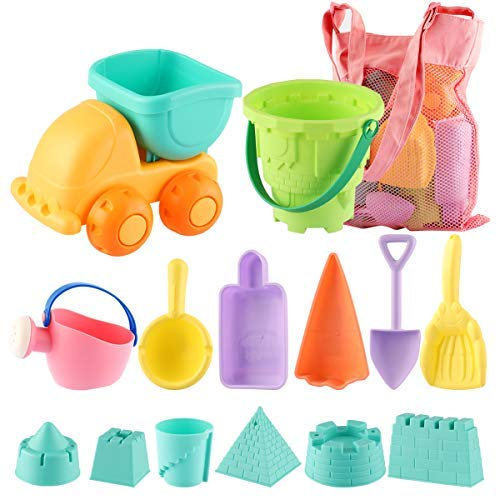 (MINGPINHUIUS Kids Beach Toys Toddlers Beach Sand Toy Set with Bucket Castle Molds and Mesh Bag Soft Plastic Material (14 pcs))