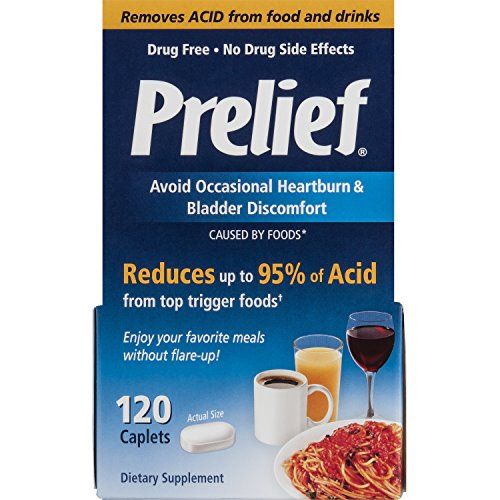 Prelief Acid Reducer Caplets 120 Count Dietary Supplement To Reduce Up To 95  Of The Acid In High Acid Food And Beverages