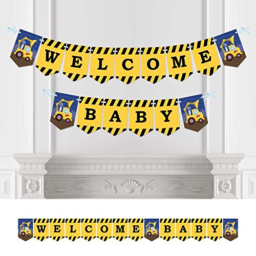 Big Dot of Happiness Construction Truck - Baby Shower Bunting Banner - Construction Party Decorations - Welcome -