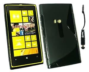 Emartbuy ® Stylus Pack Para Nokia Lumia 920 Protector De Pantalla + Metallic Mini Negro Stylus + Cover Ondulado Skin Gel Negro