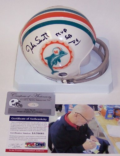 - Jake Scott Autographed Hand Signed 1972 Miami Dolphins 2-Bar Throwback Mini Football Helmet - with SB VII MVP Inscription - PSA/DNA