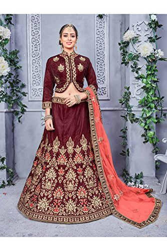 Da Facioun Indian Women Designer Partywear Ethnic Traditional Lehenga Choli. Da Facioun Femmes Indiennes Concepteur Choli Lehenga Traditionnels Ethniques Partywear. Brown 2 Brun 2