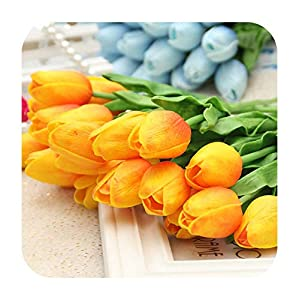 Artificial Fowers 31Pcs/Lot Pu Mini Tulip Flower Real Touch Wedding Flower Bouquet Artificial Silk Flowers for Home Party Decoration,Orange 1