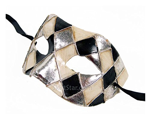 [Men's Masquerade Mask Checkered Standard Adult Black Siilver (Silver)] (Couple Costumes Black And White)