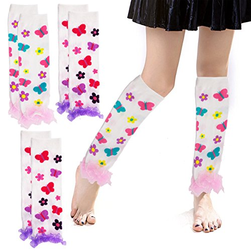 Princess Expressions (4 Pack) Baby-Toddler Girls Leg Warmers Patterned Dance (Cupcake Costumes Pattern Kids)