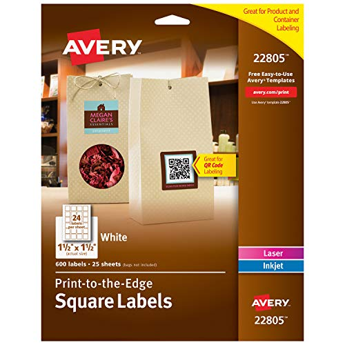 "Avery Square Labels for Laser & Inkjet Printers, Print-to-The-Edge, 1.5"" x 1.5"", 600 Labels (22805)"