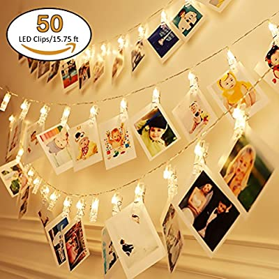 Jamal 20 LED Fairy Lights Battery Operated Twinkle Lights Photos Clips String Lights Indoor Picture Lights String Fairy Lights For Bedroom Hanging Photos Cards and Artworks(7.2ft. Warm White)