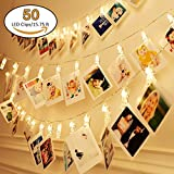 #5: Jamal 50 LED Photo Clips String Lights, Christmas Indoor String Lights for Hanging Photos Pictures Cards and Memos, Ideal Gift for Dorms Bedroom Decoration (50 LED Warm White)