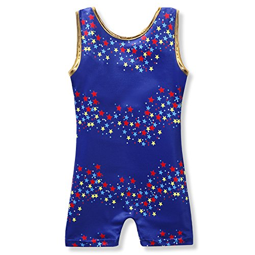 Leotard for Girls Gymnastics Ballet Dance Navy Blue Colorful Stars ,Blue,130 6-7Y (Bike Apparel)
