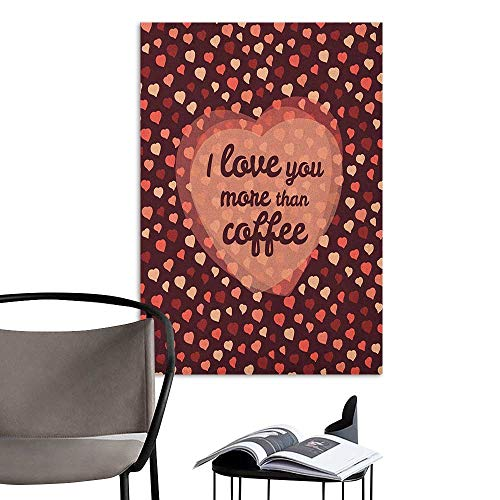 Canvas Print Wall Art I Love You More Happy Valentines Day Celebration Coffee and Love Theme with Hearts Coral Peach Brown Home Decor W32 x H48 ()