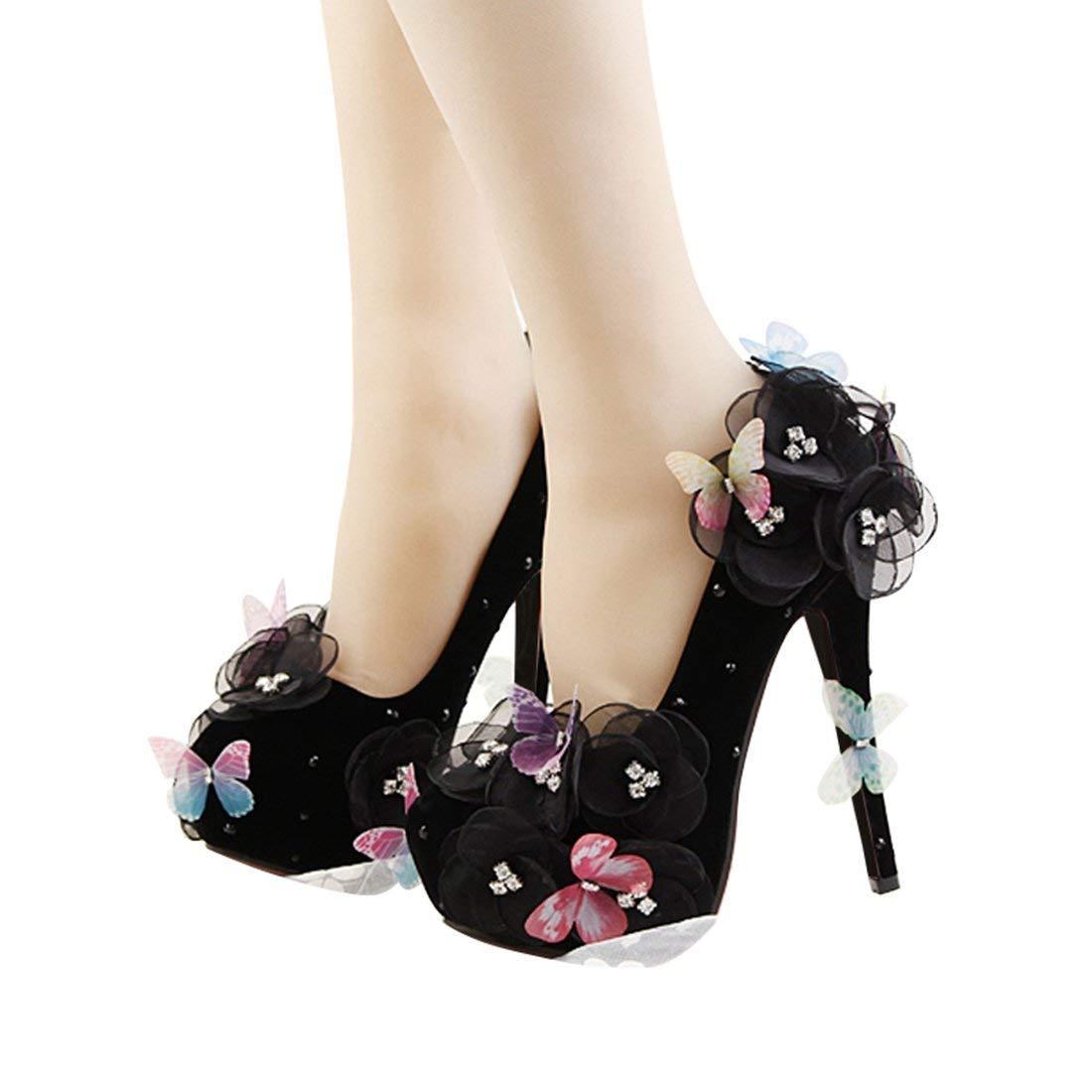 ZHRUI Damen Slip-on Versteckte Plattform Spitze Blaumen Schmetterling schwarz schwarz schwarz Satin Abend Hochzeit Pumps UK 2.5 (Farbe   -, Größe   -) c2020c