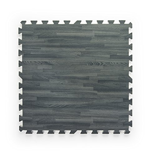 Displays2go Wood Grain Jigsaw Foam Floor Tile (Set of 13), Gray by Displays2go