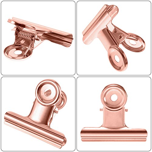 TecUnite Metal Bulldog Clips 2 Inch Bulldog Paper Clips Hinge Clamp File Binder Clips for Photo, File Storage, Home Office Supplies, Pack of 20 (Rose Gold) by TecUnite (Image #2)