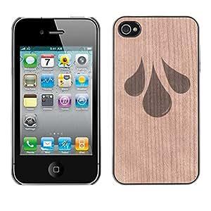 Funda Cubierta Madera de cereza Duro PC Teléfono Estuche / Hard Case for iPhone 4 / 4S / Phone Case TECELL Store / Lluvia Tears Agua minimalista Sad Rain Tears Sad Minimalist Water