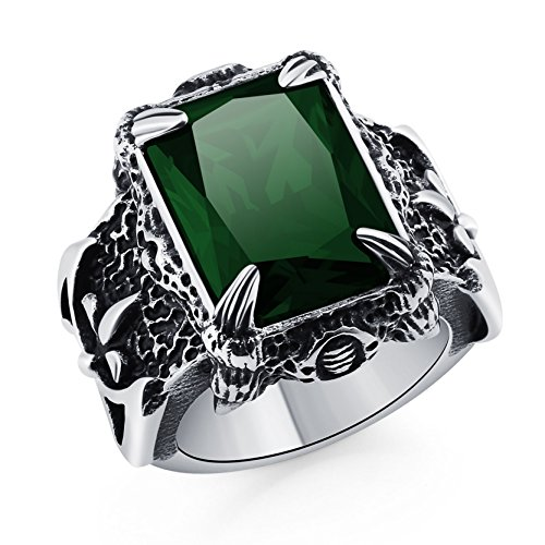 DALARAN Retro Dragon Claw Ring with Green Crystal Mens Gothic Band Punk Stainless Steel Biker Ring Size 11