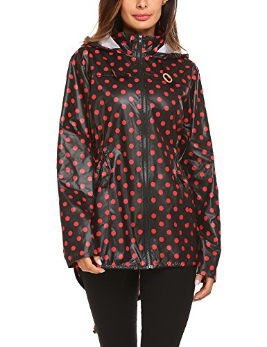 ZHENWEI Womens' Waterproof Lightweight Trench Raincoat,Hooded Outdoor Hiking Windbreaker Polka Dot Rain Jacket