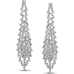 Simulated Diamond Waterfall Tassel Earrings